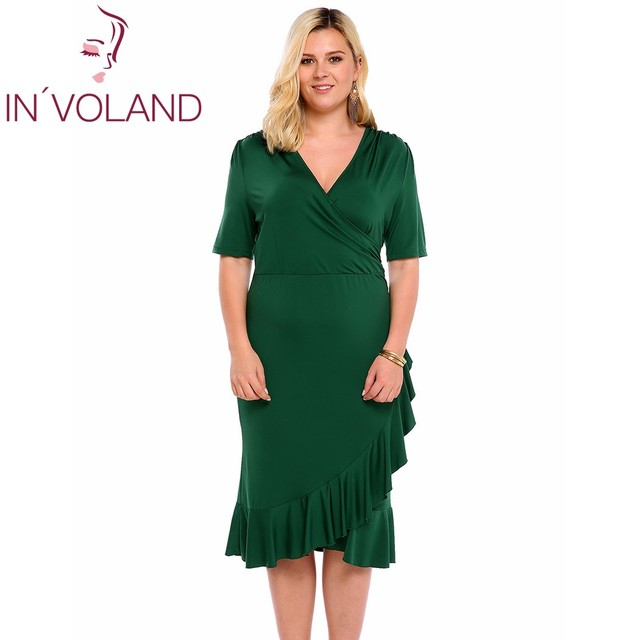 IN VOLAND Vintage Dress Big Size For Women Sexy Deep V-Neck Half Sleeve  Solid Ruffle Slit Bodycon Dresses Vestidos Oversized 5XL 0cec3d7b4847