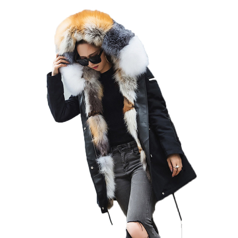 Solid Red Fox Sliver Fox Golden Island Fox Patchwork Fur Parka Women 2017 Winter Fashion Warm Coat Vintage Clothes Female Ladies