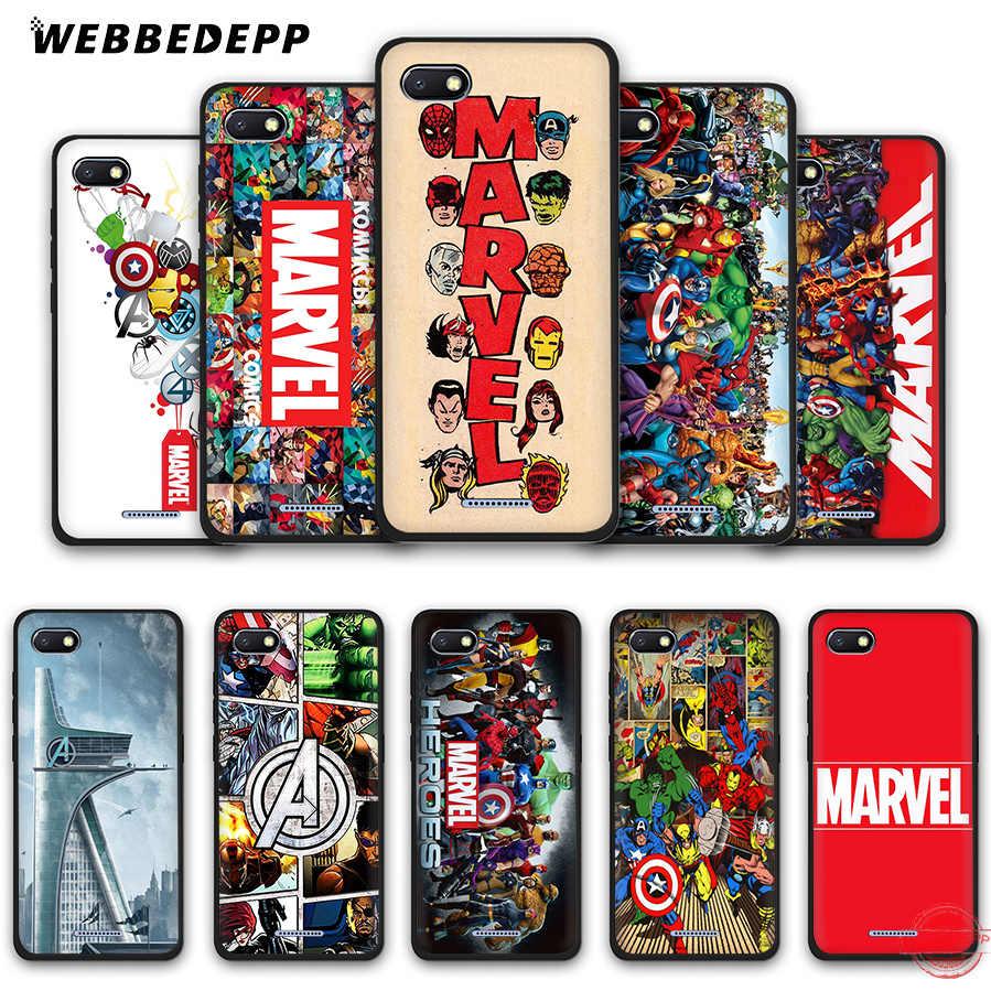WEBBEDEPP Super-heróis Da Marvel The Avengers Caso Soft Phone para Redmi Nota 8 7 6 5 Pro 4A 5A 6A 4X5 Plus S2 Ir Casos