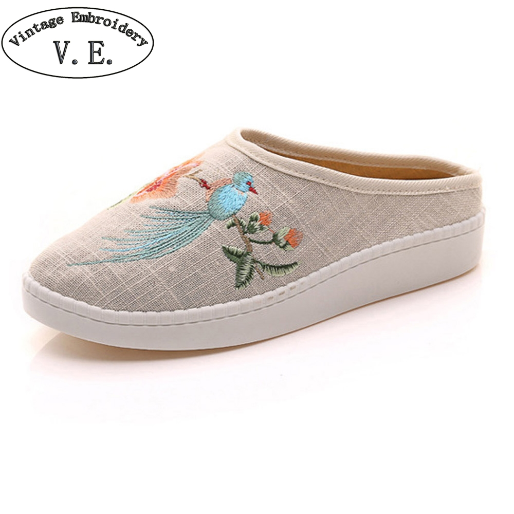 Chinese Women Slippers Birds Floral Embroidered Linen Slippers Soft Home Floor Fabric Casual Sandals Shoes Woman Zapatillas vintage embroidery women flats chinese floral canvas embroidered shoes national old beijing cloth single dance soft flats