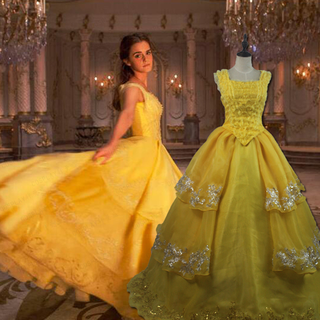 High Quality Beauty And The Beast Dress Belle Cosplay Costume Yellow