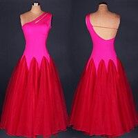 Modern Tango Dress  Sleeveless Quick Step Dress Sleeveless Viennese Waltz Dress Pink blue red purple pink blue Waltz Dresses