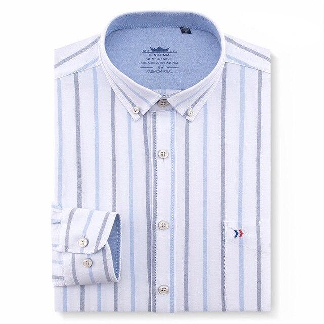 Dos homens 100% Algodão Oxford Regular-fit de Manga Longa Botão Para Baixo  Camisa a162c1a5299be