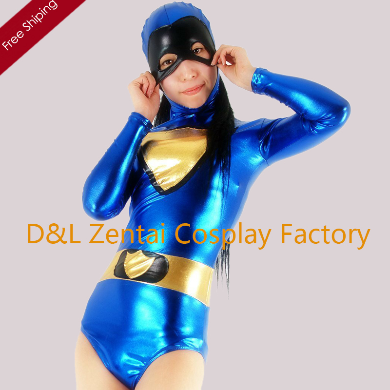 Free Shipping DHL Adult Sexy Blue Shiny Metallic Catsuit For Women Leotard Costume M103