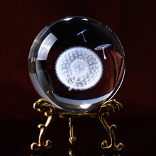 60mm Diameter Globe 1pc Dandelion Miniatures Crystal Ball Laser Engraved Plant Gl Sphere Home Decor Accessories Gifts