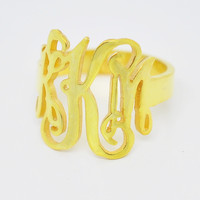 Wholesale Golden Plated Silver Monogram Ring Personalized Name Initial Jewelry Handmade Custom Gift