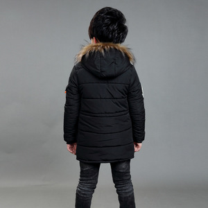 Image 2 - Childrens Double Zipper Jackets Boys Thickening Fur Collar Hooded Cotton Jacket Children Winter Outerwear Coats