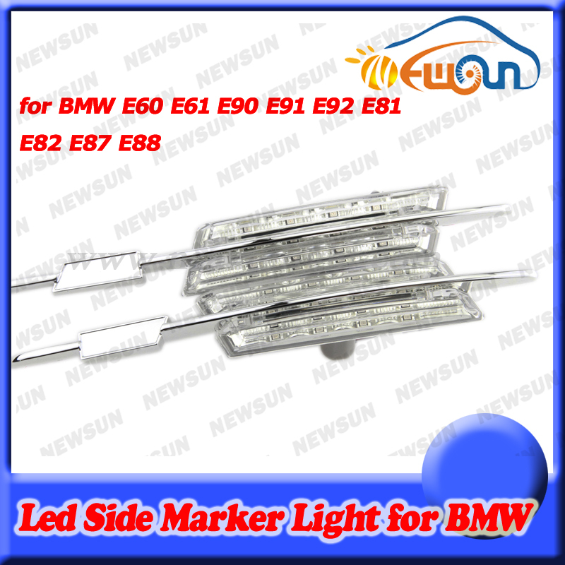 Play & Plug Amber Car Clear LED Side Marker light lamp for BMW E90 E91 E92 E60 E61 E81 E82 E87 E88 canbus error free for bm w e87 e87 facelift e88 e89 z4 e90 car high quality rear boot led trunk luggage light lamp error free new