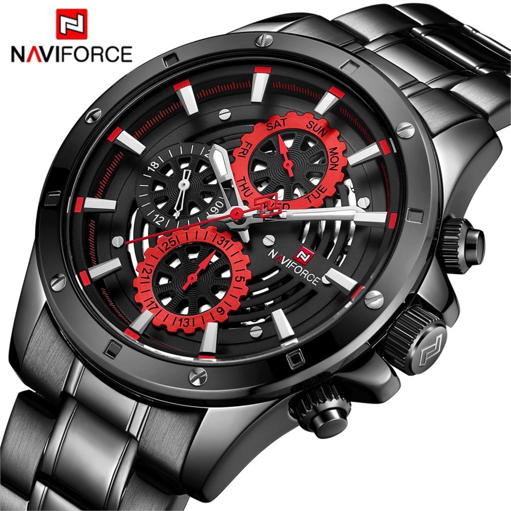 NAVIFORCE Brand New Fashion Sport Watch Men Luxury Quartz Wristwatch 3Bar Waterproof Full Steel Male Black Red Relogio Masculino