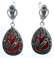 "11/2"" Genuine 925 Silver & Marcasite inlay red coral Waterdrop Earrings new"