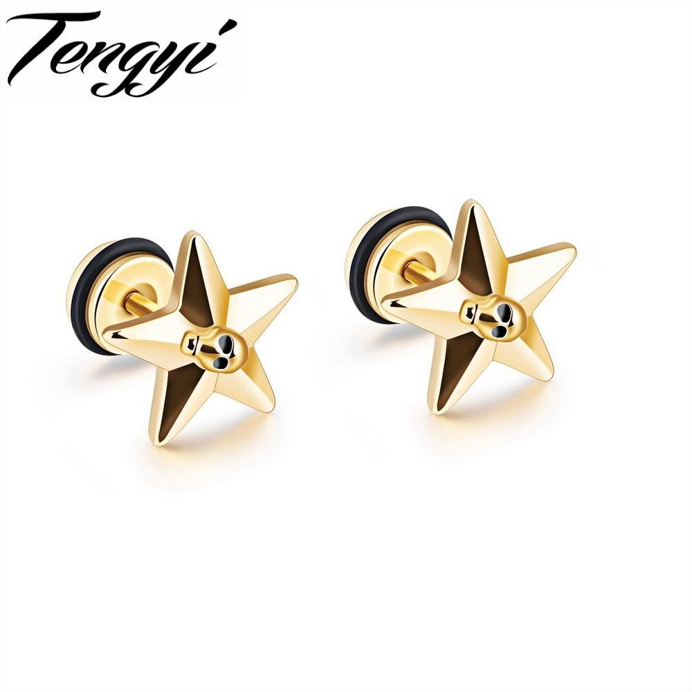 Tengyi Simple Star Design Studs Earrings For Women Men Punk Style Skull  Women Jewelry Ear Studs