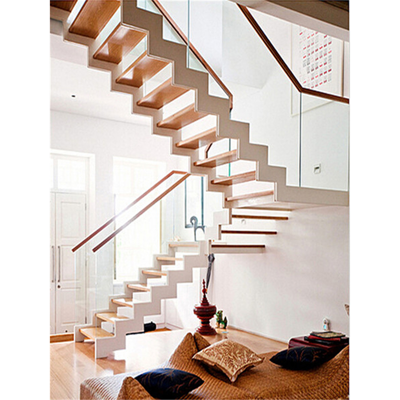 Pure White Steel Structure Wood Staircase With Side Mounted Glass | White And Wood Stairs | Non Slip | Foyer | Simple | Solid Wood | Indoor