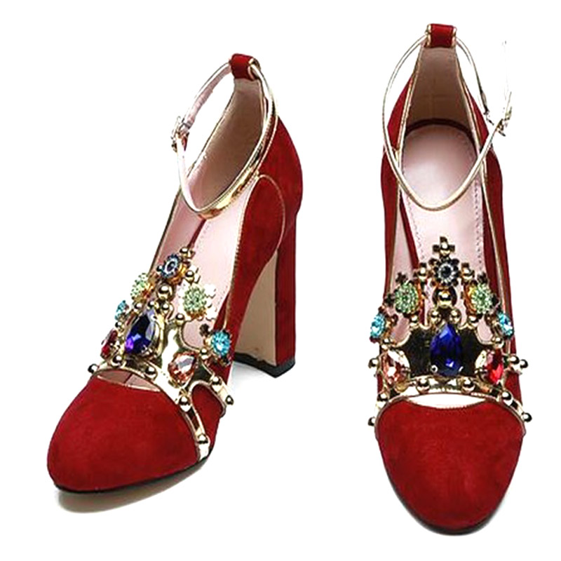 2018-latest-designer-rhinetone-suede-pumps-sexy-round-toe-square-heel-ankle-strap-shoes-woman-red