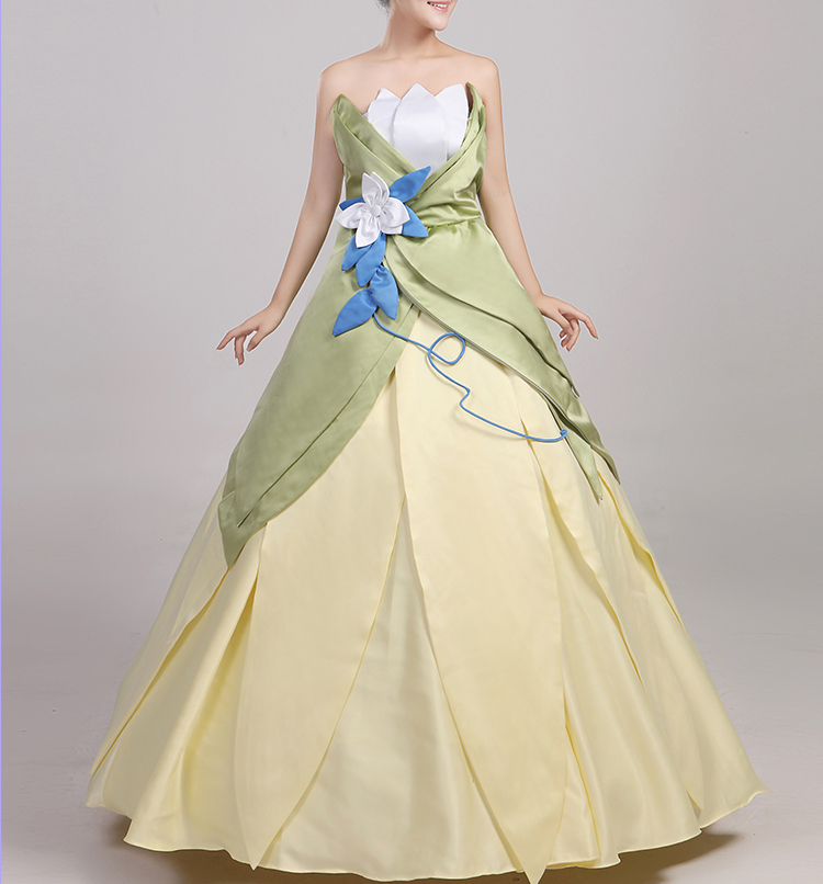 Wonder woman cosplay The Princess and the Frog costume adult princess tiana dress for Halloween costume long green Party dress (6)