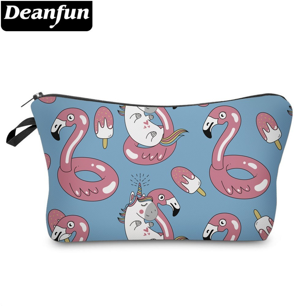 Deanfun Unicorn Cosmetic Bag Waterproof Printing Flamingo Cosmetic Pouch Customize For Travel 51506