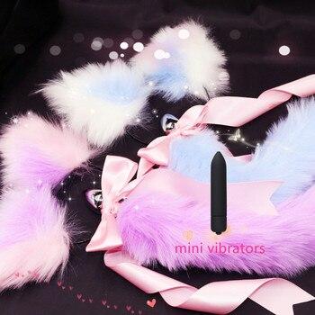 Doofeel mignon doux chat oreilles bandeaux avec queue de renard arc métal bout à bout Anal Plug érotique Cosplay adulte jouets sexuels produit pour les femmes