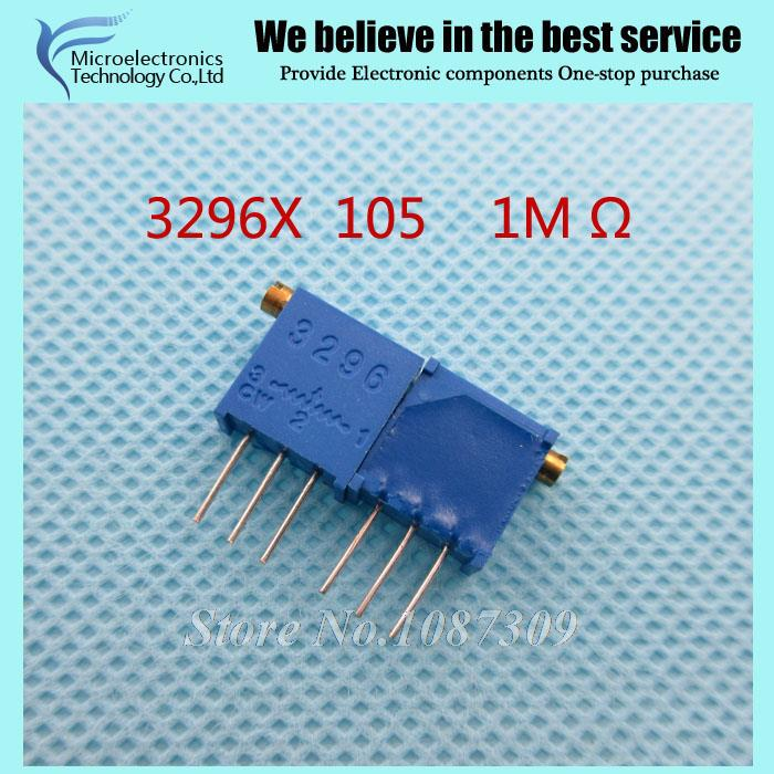 100Pcs/lot 3296X-1-105LF 3296X 105 1M ohm side regulation Multiturn Trimmer Potentiometer High Precision Variable Resistor