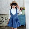 2 pcs Cowboy Dress Set for Girl Fashion Girls Clothing Set Girls Princess Dress Teens Kids Retro Lace Shirt and Strap Dress