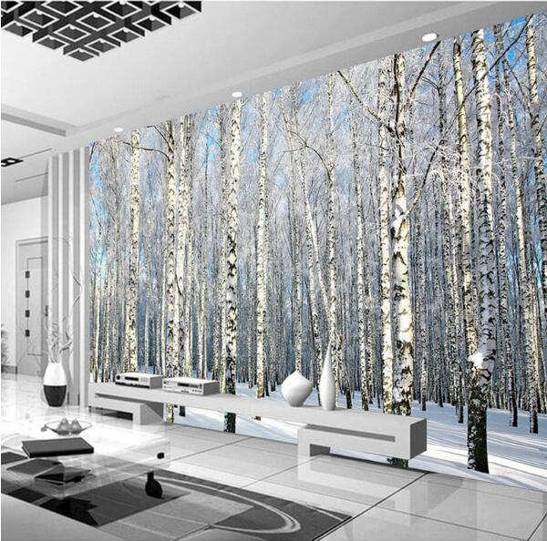 Snow Birch Tree Forest Nature Photo Wall Paper Mural Living Room TV Background Wall Papers 3D Wallpaper Canvas/Silk Wallpaper