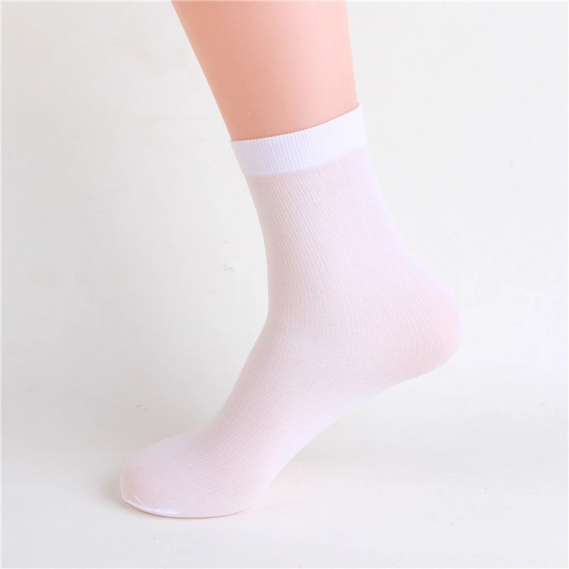 5 Pairs/set Men's Stocks Summer Thin Men's Socks Solid Color High Elastic Wear-resistant Ice Silk Cool Sockings Business Socks