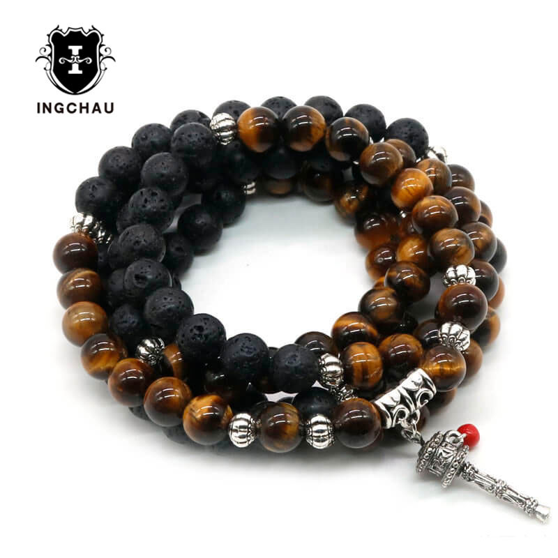 Antique 8mm Tibetan Buddhism Lava Stone Prayer Wheel Bracelets Men 108 Mala Beads Bracelet or Necklace Women Yoga Jewelry BD-23