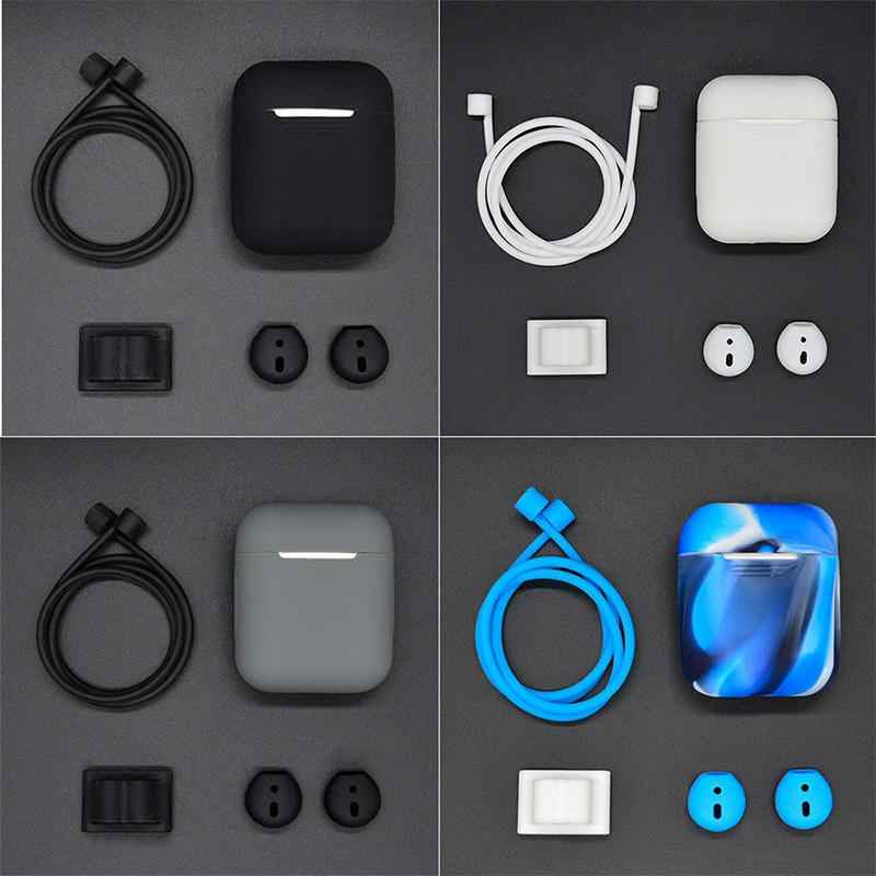 5 in 1 Siliconen Cover Case voor Airpods Headset Oortelefoon Accessoires Case + Draagriem + Horloge Band Houder Oorhaak cover r25