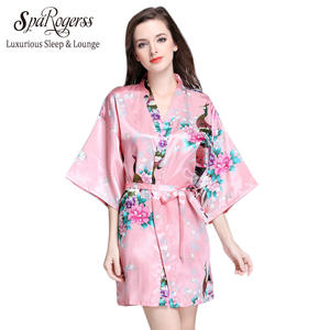 b5edb43339 SpaRogerss Fashion Women Bath Robe 2018 Brand Summer Faux Silk Floral Lady Bathrobe  Female Nightwear Mothers Sleep Kimono WP065