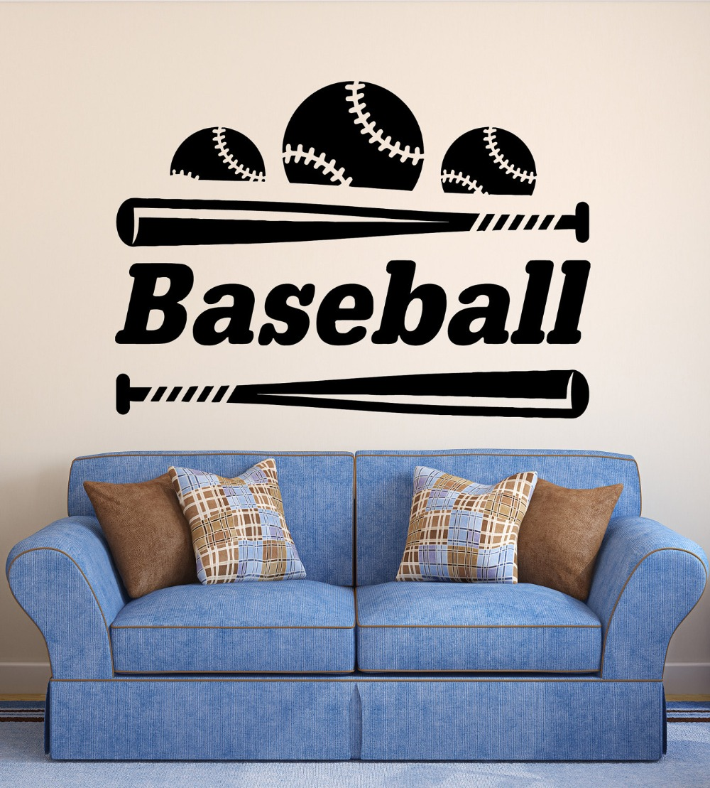 Wall Decal Baseball Vinyl Sports Sticker Bat Ball Bedroom Living Room Decoration Kids House Home Accessories Wallpaper Ww 156
