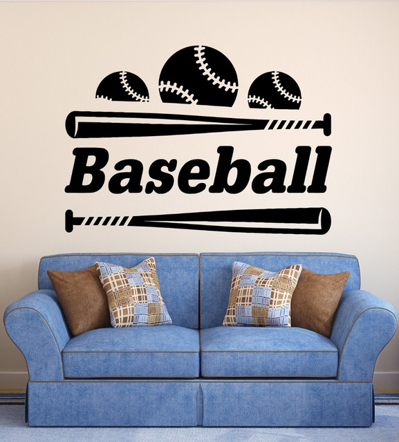 bat living room furniture for design wall decal baseball vinyl sports sticker ball bedroom decoration kids house home accessories