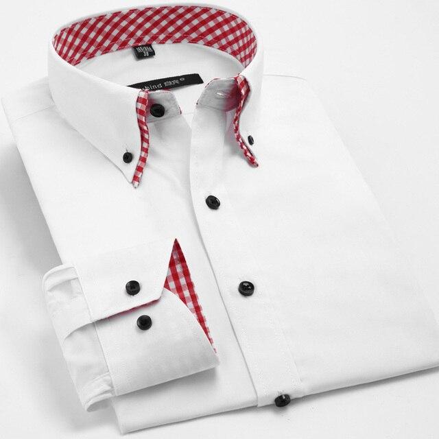 Двойной воротник с длинными рукавами мужские рубашки твердые деловые мужчины рубашка весна лето мужская топ бесплатная доставка