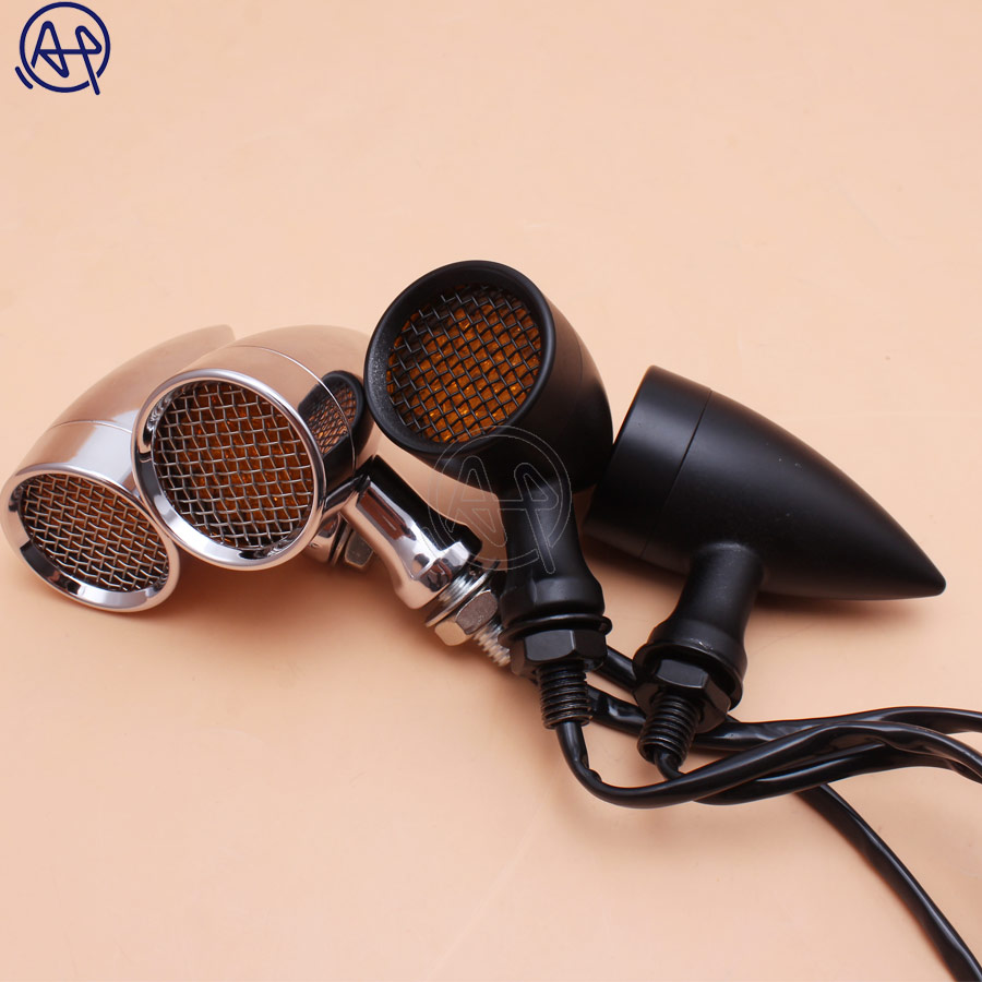 Black/Chrome Motorcycle 12V Amber Mesh Lens LED Turn Signal Brake Light 10mm Aluminum Housing For Chopper Bobber Cafe Racer