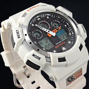 Relojes De Buceo Para Hombre | Relojes De Cuarzo Para Hombres Reloj Impermeable Deportivo Buceo Doble Movimiento EPOZZ 3001 Moda Militar Digital LED Luminoso Reloj Masculino