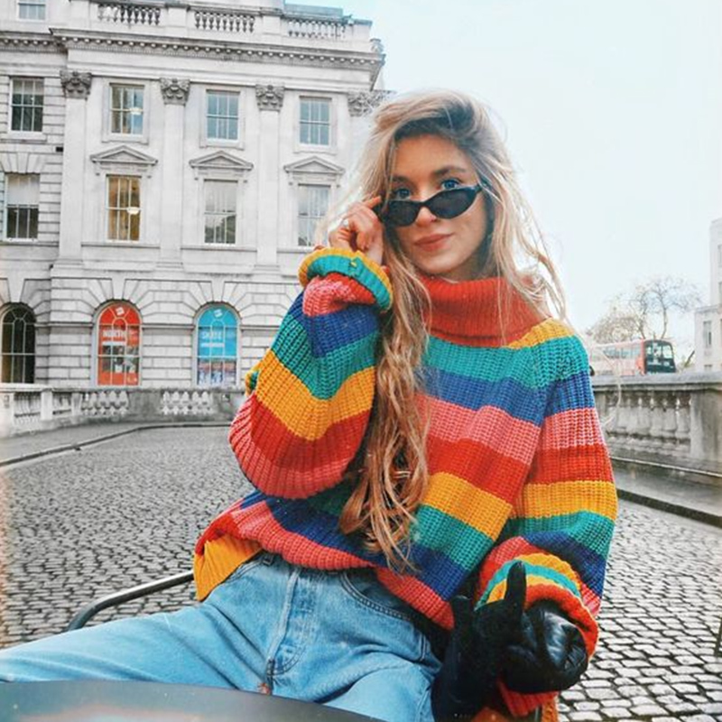 Aproms Colorful Stripe Blocked Knit Jumper Women Winter Sweater and Pullover Cool Girls Streetwear Turtleneck Knitted Pullovers