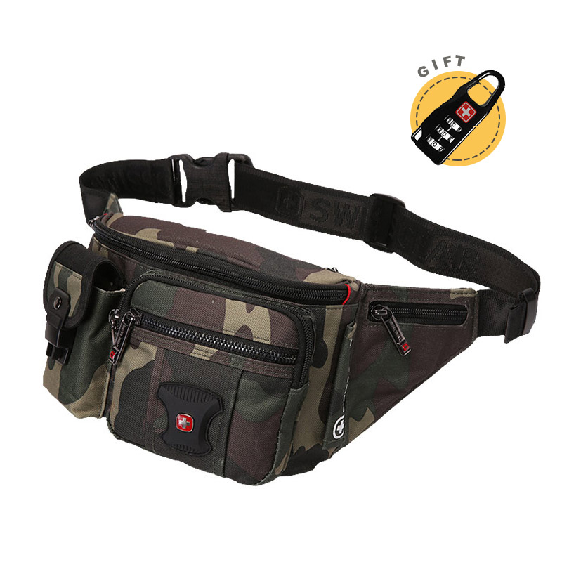2019 Swiss Waist Pack Male High Quality Camouflage Belly Bag Waterproof Motorcycle Fanny Pack Multi-Pocket Bum Bag Medium Size