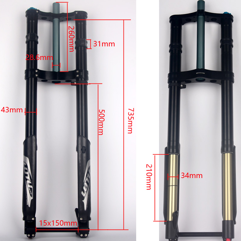 NEW Fork DH FR FRONT FORK Bike Oil Suspension 26 27 5 Fork travel 210mm rock shox downhill in Bicycle Fork from Sports Entertainment