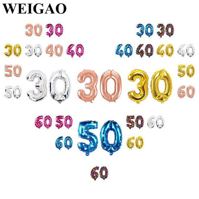 WEIGAO Adult Happy 30 40 50 60th Birthday Party Balloons Decoration For Gifts Foil Balloon Supply