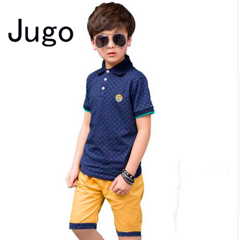 Children 39 s kids boys clothes set summer polo dots shirt for Dress shirts for athletic guys