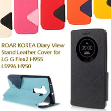 Roar KOREA For LG G Flex 2 Case Diary PU Leather View Window Phone Cover Bag for LG G Flex2 H955 LS996 H950 with Card Slot