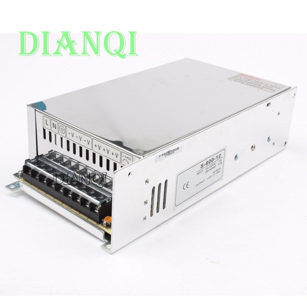 DIANQI 600W 12V 50A Single Output Switching power supply  220V or 110V input AC to DC switching power supply S-600-12 dianqi 1000w 24v 42a power supply 220v or 110v input single output switching power supply for led strip light ac to dc