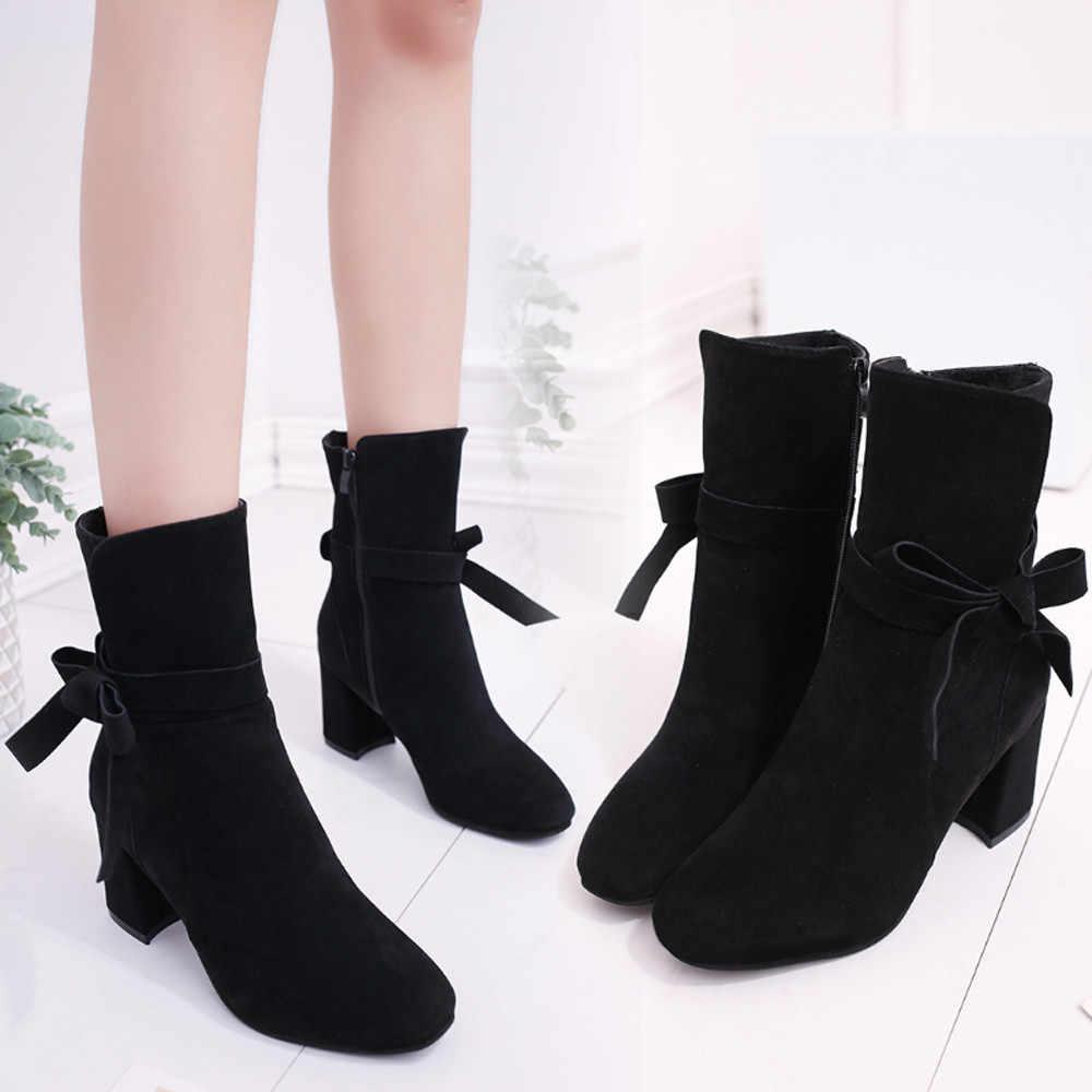 Papyon zarif yarım çizmeler kadınlar için moda rahat platformu yüksek topuklu yuvarlak ayak fermuar ayakkabı ayakkabı kadınlar şişeler Femme