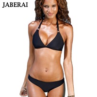 JABERAI 2017 Black Solid Halter Bikini Set Women Push Up Swimwear High Neck Swimsuit Bathing Suit
