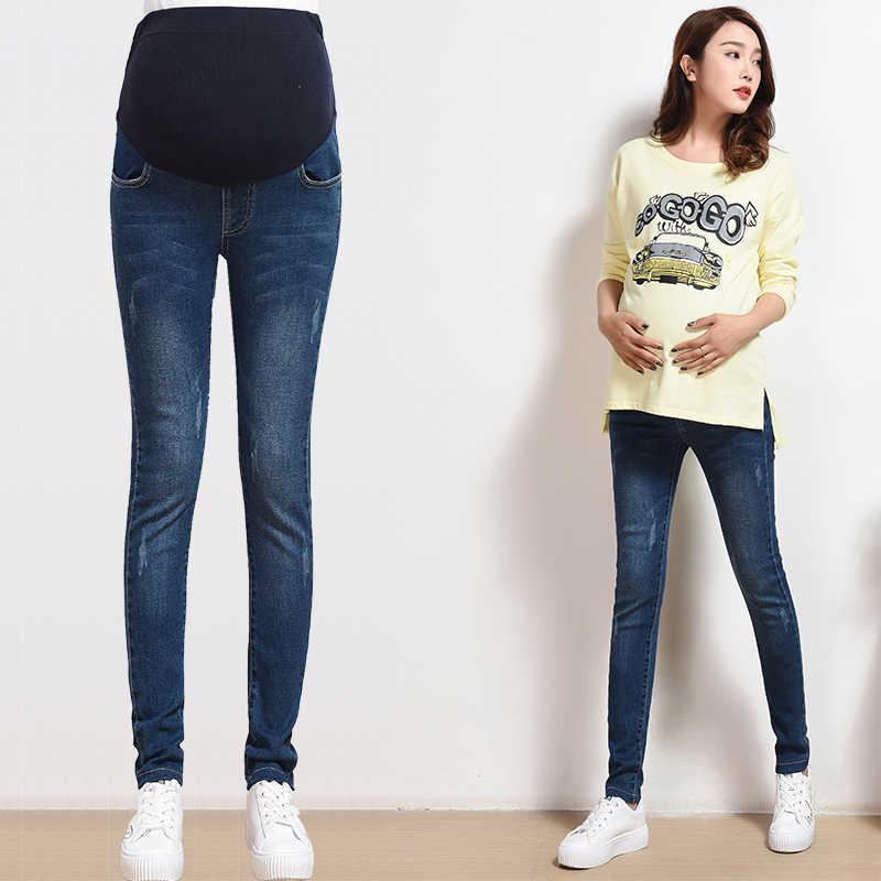 Pantalones vaqueros de maternidad con cintura elástica para ropa de embarazo Otoño/primavera/verano para mujeres con agujeros Pantalones de niña talla grande