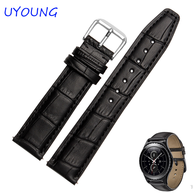 Quality Leather Band For Watch 20mm For Samsung Gear S2 Replace Strap Black Brown Mens Watch accessories