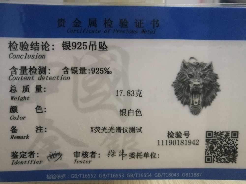 SOQMO خمر قلادة 100% ريال 925 فضة مجوهرات الرجال النساء الحيوان قلادة على شكل رأس ذئب قلادة SQM059