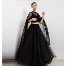 High End Black Puffy Tulle Skirts For Fashion Women Beaded Waistband Shiny Floor Length Tutu Skirt To Formal Party