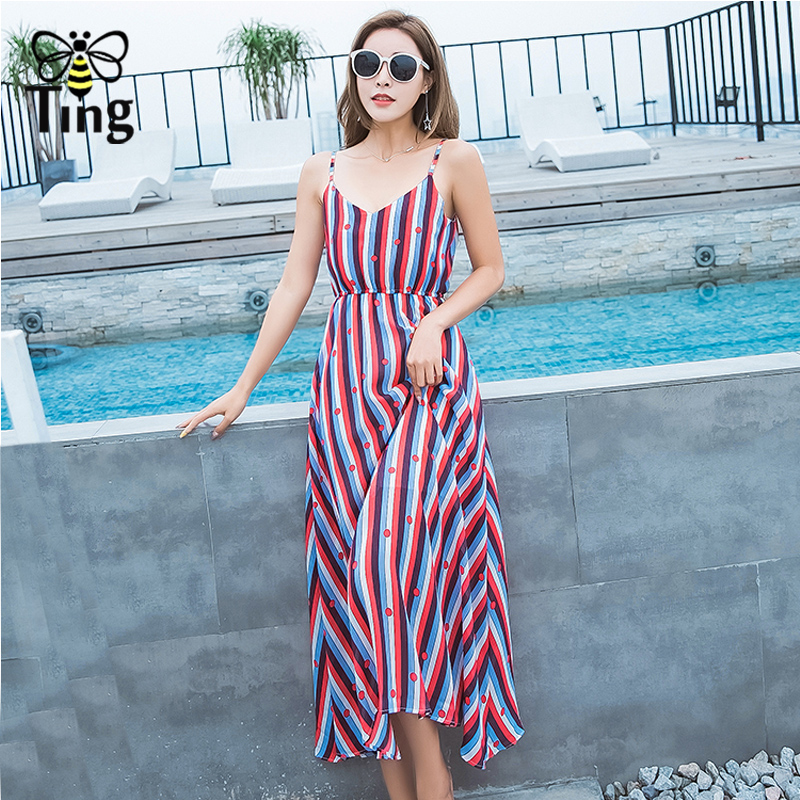 Tingfly <font><b>Casual</b></font> <font><b>Striped</b></font> <font><b>Beach</b></font> <font><b>Dress</b></font> <font><b>Women</b></font> <font><b>Sexy</b></font> <font><b>Sleeveless</b></font> Spaghetti Strap Midi A Line Summer Party <font><b>Dress</b></font> Sundress vestidos image