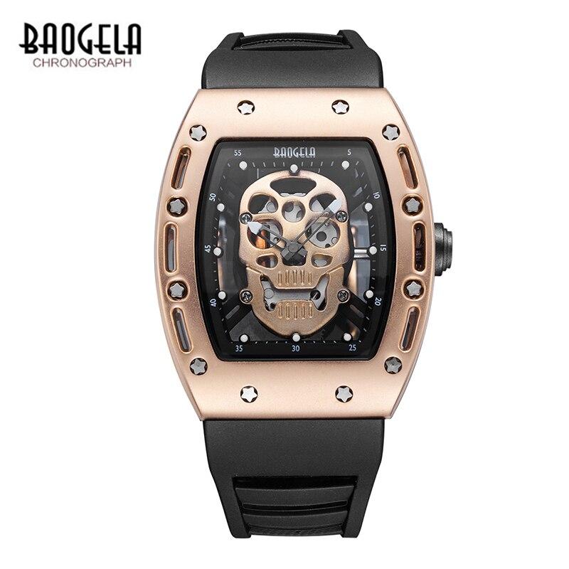 BAOGELA Neue Schädel Männer Uhren Militär Silikon Marke Pirate Hohl Männer Luminous Sport Armbanduhr Relogio Masculino