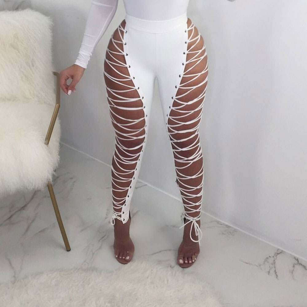 2019 Hollow Out Lace Up Bandage PU Leather   Pants   Women Slim High Waist Bodycon Pencil Trousers Summer Club Party   capris   VKPA1029