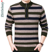 2019 brand casual striped winter warm pullover knitted zipper male sweater men dress thick mens sweaters jersey clothing 41271
