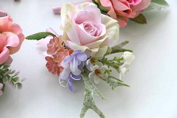 pink wrist corsage boutonniere wedding  (1)